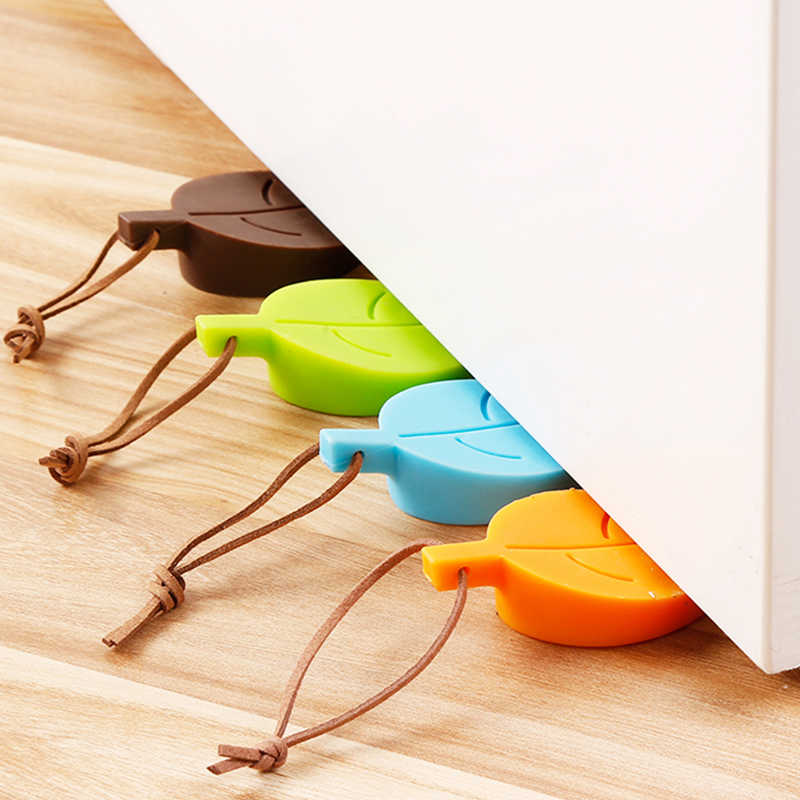Silicone Rubber Door Stopper Cute Autumn Leaf Style Home Decor Finger Safety Protection Kid Baby Safety Hangable Prevent Wind