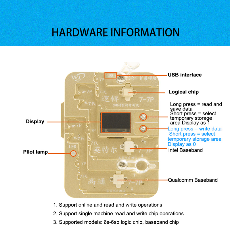 WL for iPhone 7/7P IC Chips Programmer No Main Control Code Chip Programmer 7 Generation +7P Extension Module 3 In 1