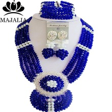 Majalia Fashion Nigeria Wedding African Beads Jewelry Set Royal blue and White Crystal Necklace Bridal Jewelry Sets 6DN042(China)