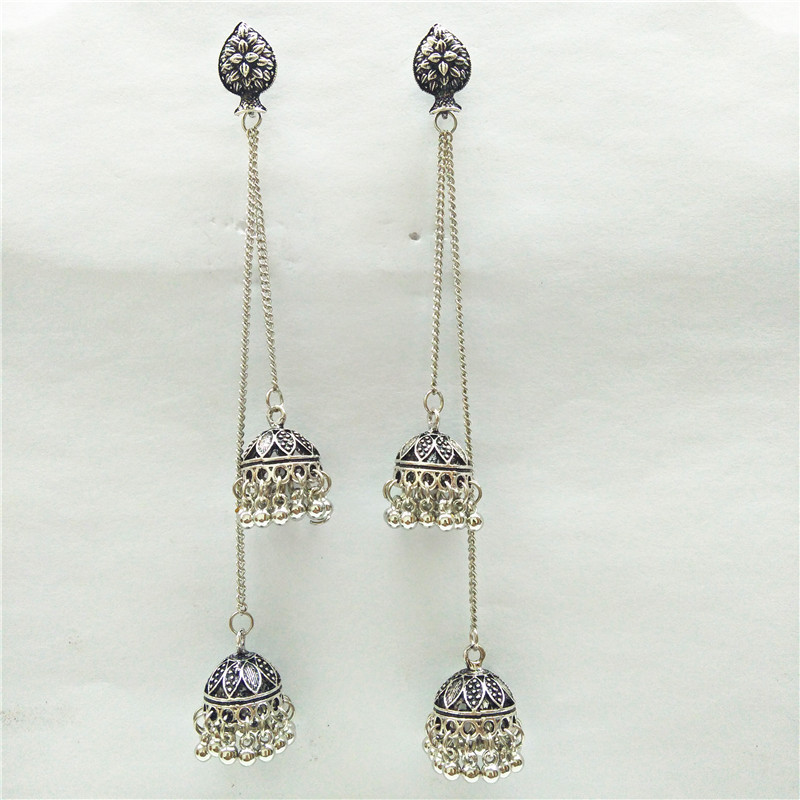 Zhenxin Round Classic Unique Indian Jewelry Jhumkas Big Earrings For Women Exaggeration Silver Vintage Boho Tibetan Hippie Style Stud Earrings
