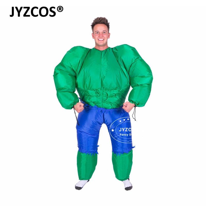 JYZCOS Adult Men's Muscle Hulk Halloween Inflatable Costume Marvel Avengers Superhero Fantasy Movie Fancy Dress Cosplay Clothing original factory big sale child muscle thor movie avergers superhero costume