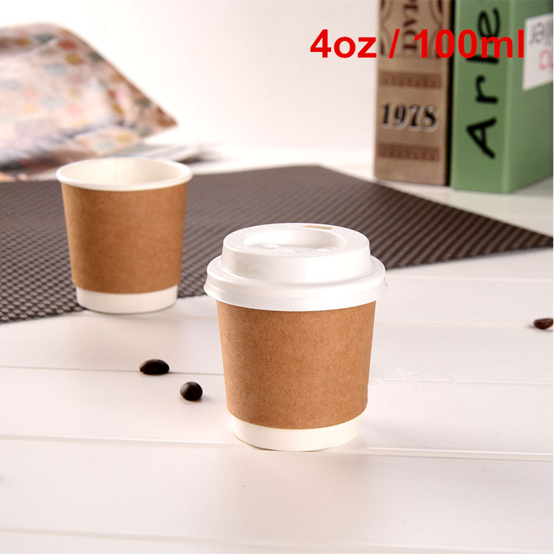 100 X 4oz Upscale Brown Kraft Double Layer Coffee Drinking Cups Thicken Insulation Milk Paper