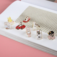 20 pieces Japanese cute cat kitten Harajuku oil life Brooch Lapel Pin girls lovely simple cartoon animals Badge lovers gift