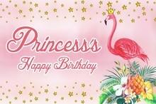 Laeacco Princess Happy Birthday Flamingo Pineapple Scene Photography Backgrounds Custom Photographic Backdrop For Photo Studio