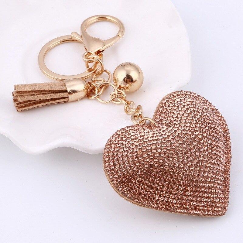 Women Heart Pattern Cute Key Ring Pendant keychain Hanging Tasse Decor Fashion