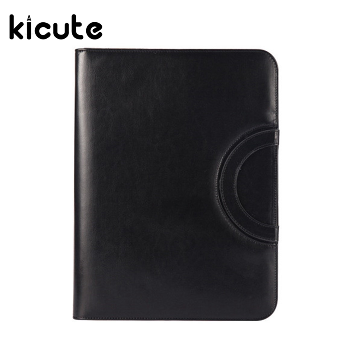 Kicute 1pc A4 PU Leather Zipped Ring Binder Conference Folder Document Bag Business Briefcase Office School Supplies Gifts kicute executive conference folder pu portfolio zipped leather look folder document organiser document holder office supplies