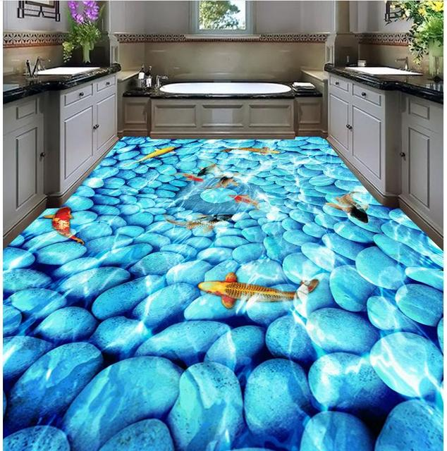 Home Decoration Cobblestone Goldfish Flooring Bathroom Wallpaper Waterproof Pvc Floor