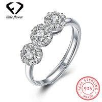 925 Silver Fashion Flower Zircon Diamond Open Rings for Women 925 Sterling Silver Finger Ornament Fine Jewelry Hot Flowers Style