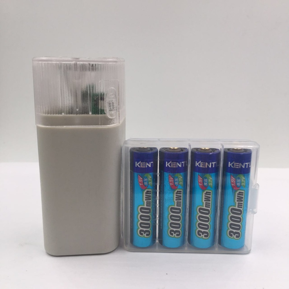 4pcs KENTLI 1 5v 3000mWh Li polymer li ion lithium rechargeable AA battery batteries 4 slots Charger with LED flashlight in Rechargeable Batteries from Consumer Electronics