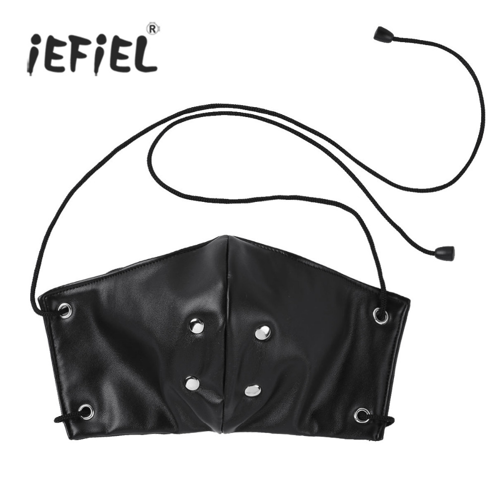 Womens Ladies Soft Faux Leather Silicone Mask with Ribbons Strap On for Adult Costumes Nightclub Sexy Accessories