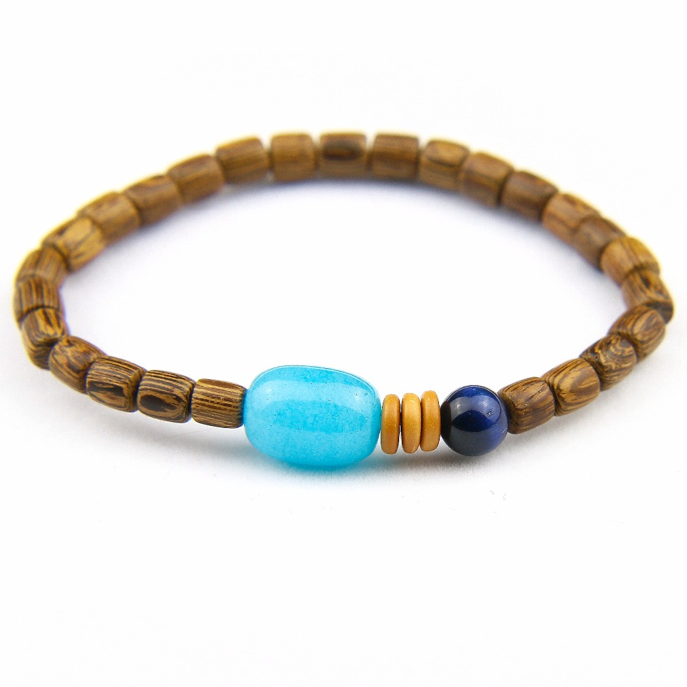 Natural Wood Barrel Beads Bracelet Women Mara Prayer Amazon stone With Blue Tiger eye Bracelets Coconut shell Men's Bracelets