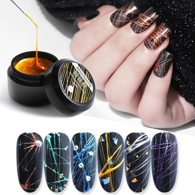 Mini-cans of nail-making METAL-COPPER sericin, Japanese-style nail-painting adhesive, mirror glue and wire-drawing glue