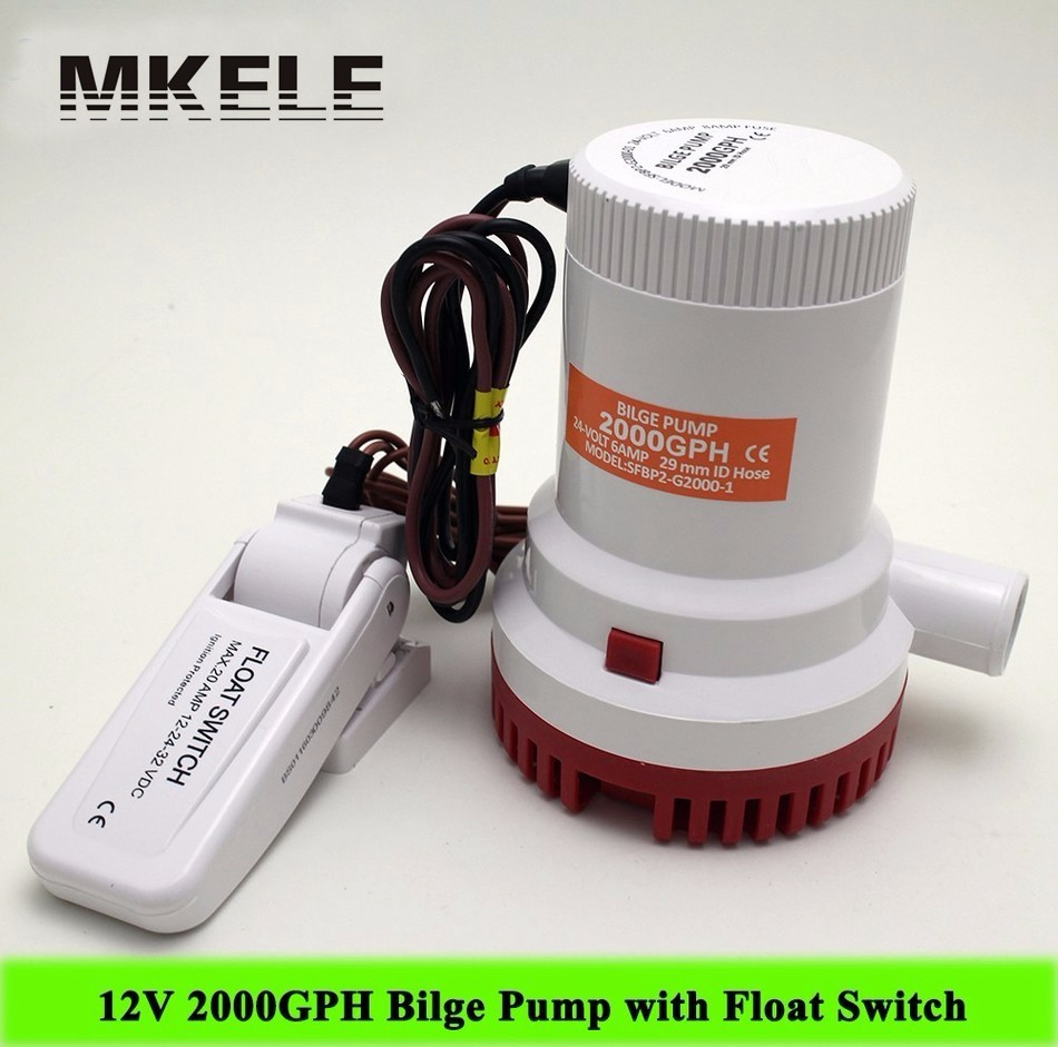 Hot Sale MKBP-G2000-12 Submersible 2000 GPH Bilge Water Pump,2000GPH 12V 10A With Float Switch Pump mkbp g2000 12 24 water pump submersible 12 24v 2000gph bilge pump high flow submersible marine boat electric bilge pump h1e1