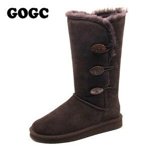 Image 2 - GOGC 2018 נשים חורף מגפי שלג מגפיים חם נשים של חורף מגפי עם צמר פרווה נוח עור אמיתי נעלי נשים 9722