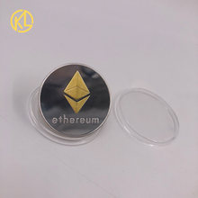 Eth ouro/tira chapeado modelado ethereum bitcoin em relevo estéreo bitcoin moeda digital moeda física comemorativa bit metal