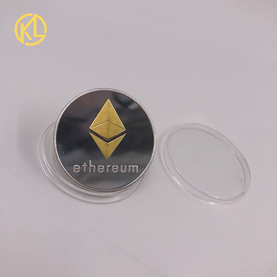ETH позолоченный/посеребренный с узором эфириум Биткоин рельефный стерео Биткоин цифровая валюта монета физическая памятная бит металл