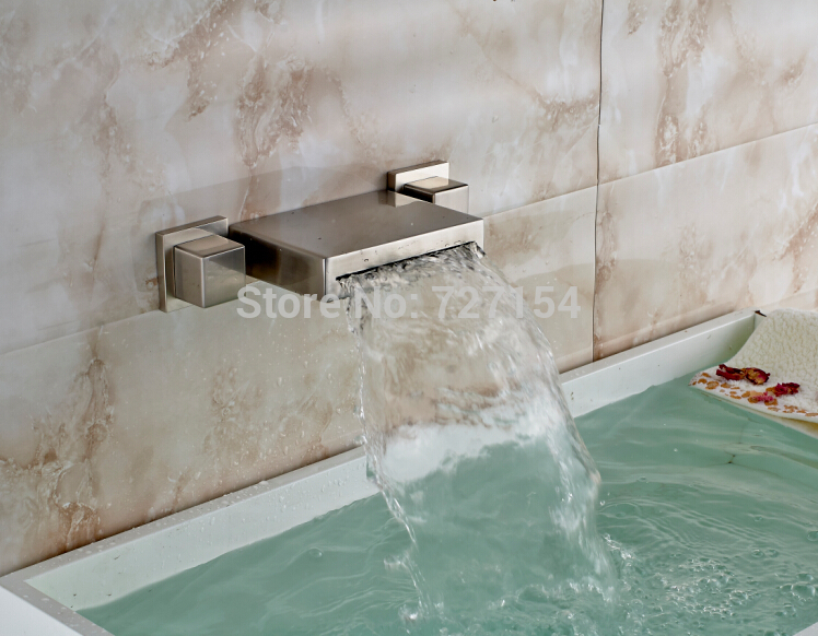 Brushed Nickel Faucet Waterfall Bathroom Spout Sink One: Dual Square Handle Bathroom Basin Faucet Waterfall Nickel