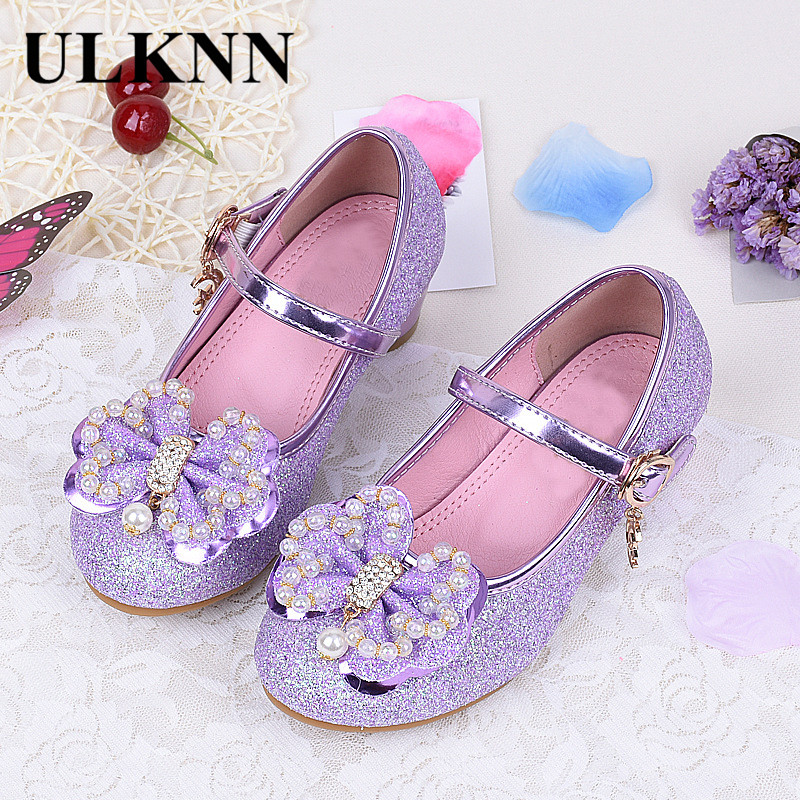 ULKNN Kids New Autumn Children Shoes Girls Bow Beading Leather Low Heel Slip Sandals For Baby chaussure menina Pink Purple Gold