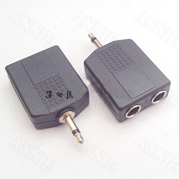 100pcs/lot  3.5 Single Channel To 6.35 Double Socket Male To 6.5KK Female Connector