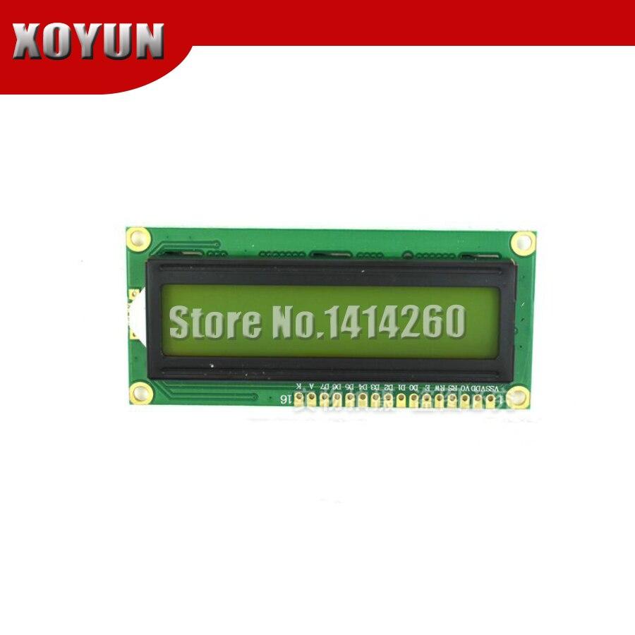 Pantalla verde amarilla 1602 LCD LCD1602A LCD-1602-5 v 5V fuente negra con retroiluminación