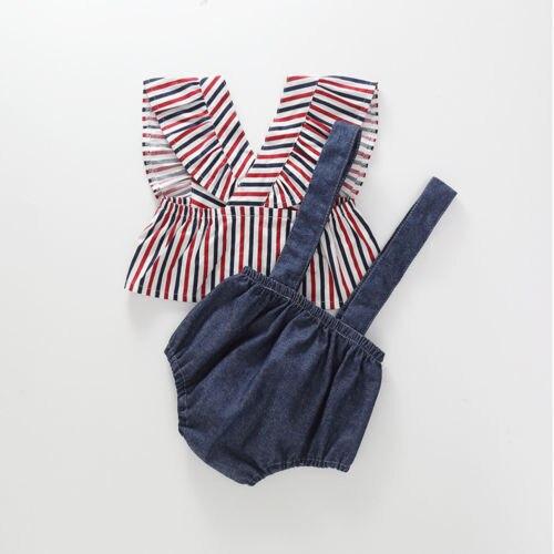 Emmababy Лето Повседневное детская одежда для девочек полосатый мини-платье без рукавов Топы + слинг брюки комплект для девочек из 2 предметов о...