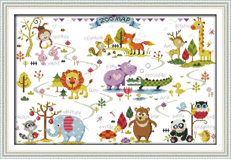 Animal Paradise, დათვლილია დაბეჭდილი ქსოვილზე DMC 14CT 11CT Cross Stitch ნაკრები, ნაქარგების ნემსების ნაკრები, სახლის დეკორაცია