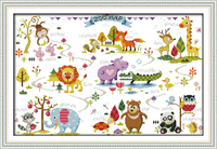 Animal Paradise Counted Printed On Fabric DMC 14CT 11CT Cross Stitch Kits Embroidery Needlework Sets Home