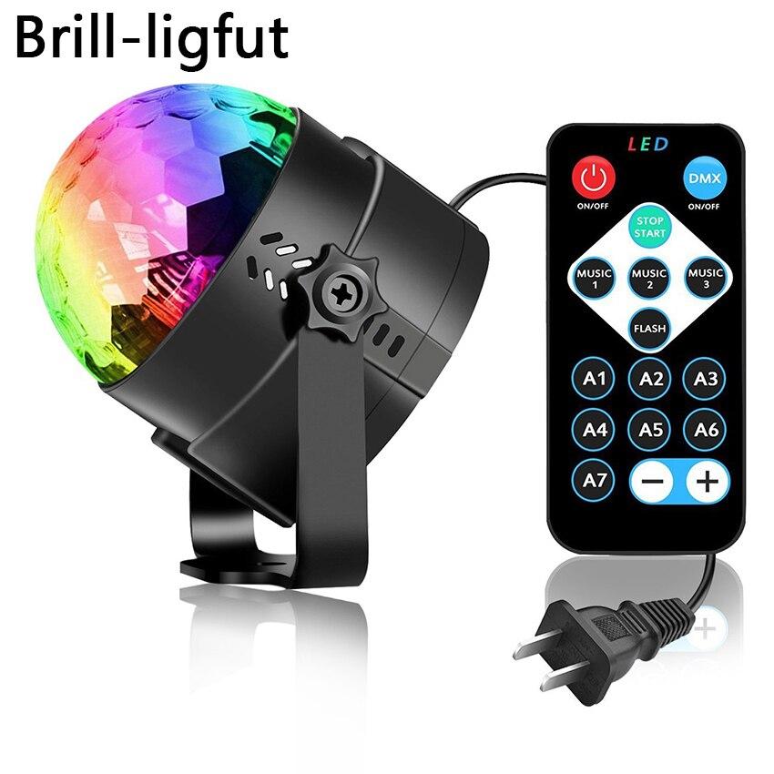 Aktywowana dźwiękiem obrotowa kula dyskotekowa oświetlenie imprezowe światło stroboskopowe 3W RGB oświetlenie sceniczne led na boże narodzenie strona główna KTV Xmas pokaz weselny