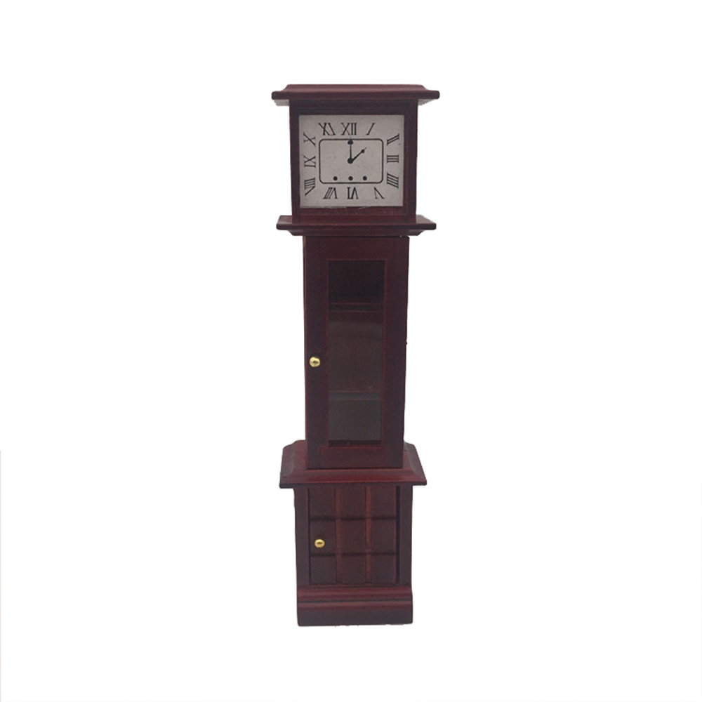 1:12 Dollhouse Miniature Wooden Classical Desk Clock Classic Furniture ToysBILU