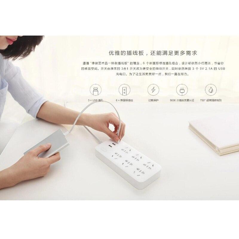 XiaoMi Mi Smart Power Strip 6 Ports with 3 USB Fast Charging 2.1A USB Power Plug Charger Socket US UK EU AU Power strip H15 (21)