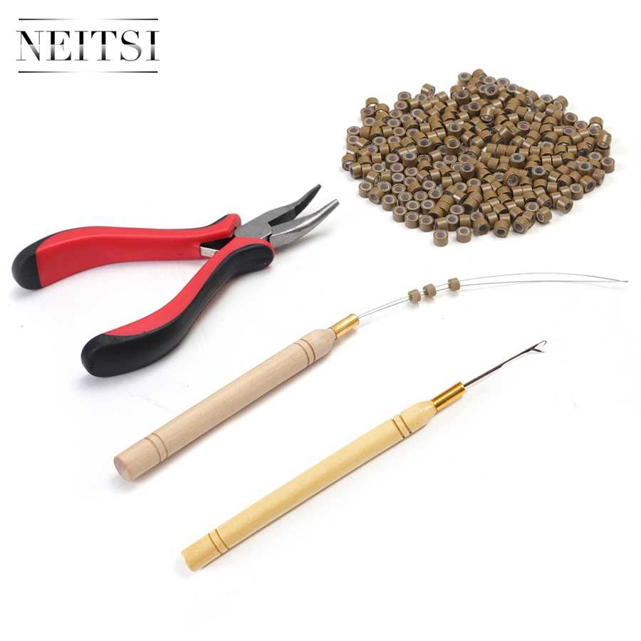 Neitsi 1pc Plier+1pc Hook Needles+1pc Loop Puller+500pcs Silicone Micro Ring Beads One Set Hair Tools For Hair Extensions