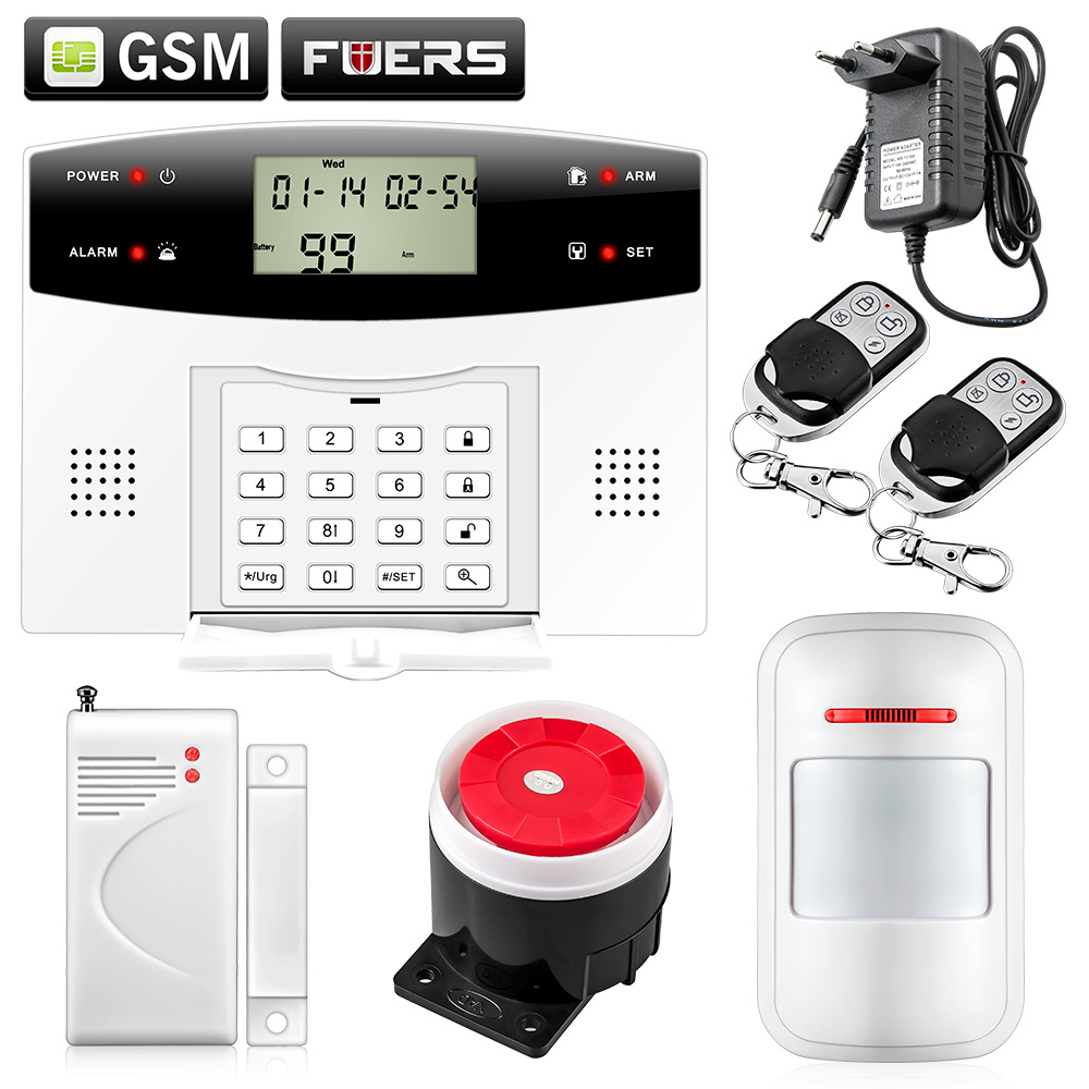 Fuers G2 Wireless Wired Alarm System PSTN GSM Dual network Voice prompt Burglar Alarm System 2 receivers 60 buzzers wireless restaurant buzzer caller table call calling button waiter pager system