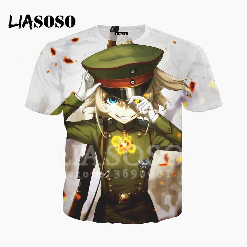 LIASOSO 3D drukuj kobiety mężczyźni japonia Anime Youjo Senki Tanya Degurechaff Tshirt letnia koszulka Hip Hop sweter z krótkim rękawem X1575