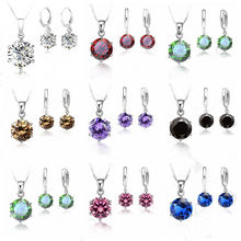 Woman 925 Sterling Silver 8MM Jewelry Sets Cubic Zircon Crystal Lever Back Earrings Pendant Necklace Nice Gifts 8MM Stone(China)