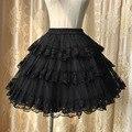 Dulce Blanco/Negro Caliente Tres Capas de Encaje Lolita Petticoat/Falda Del Tutú para el Vestido Corto Envío Gratis