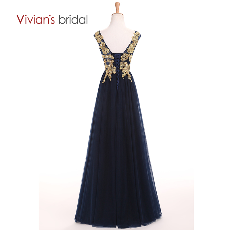 Vivians Bridal Gold Appliques Sleeve En Line Mor Of The Bride Dresses - Bröllopsfestklänningar - Foto 3