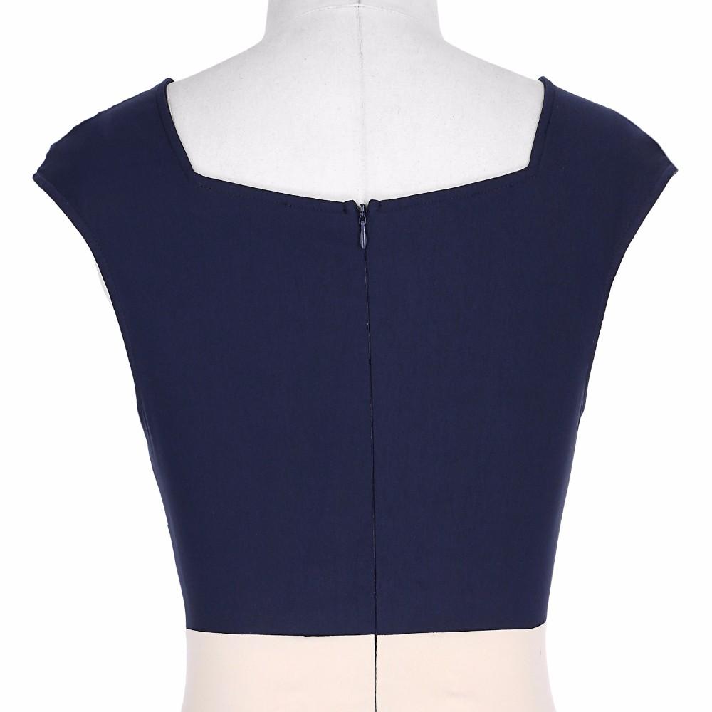 Retro Vintage Sleeveless Crew Neck 2017 Sexy Hollowed Back Cotton Navy Blue Party Dresses Vestidos Casual Office Bodycon Dress 11