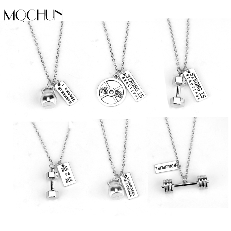 CS-DB Womens Necklaces by Silver Pendant Fitness Vintage Jewelry Strong Man Bodybuilding Charm Girls
