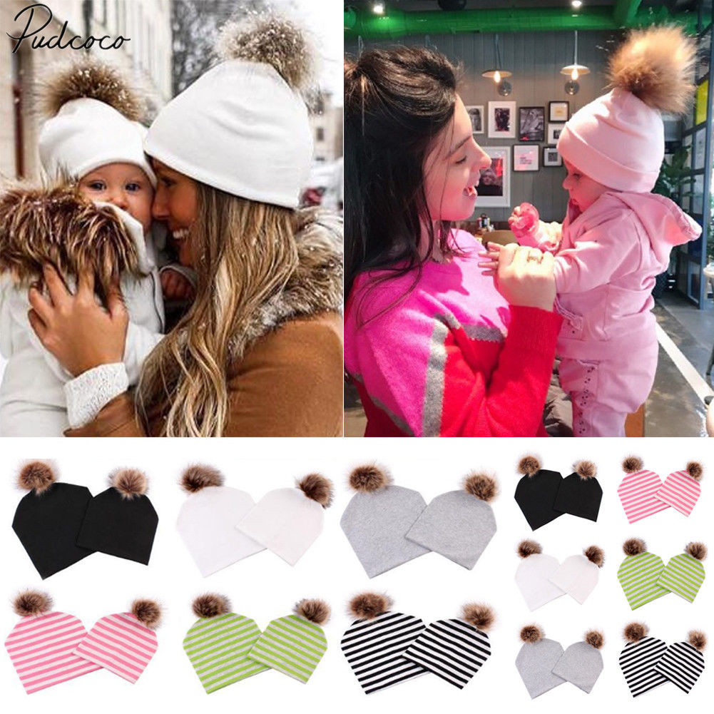 2018 Brand New Autumn Winter Family Match Mother Baby Furry Ball Hats Cotton Striped Solid Warm Fox Fur Cotton Knitted Beanie