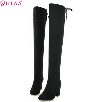QUTAA 2019 Women Over The Knee High Boots Platform Slip on Square High Heel All Match Flock Woman Boots Big Boots Size 34-43