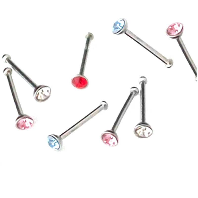 2 piezas de cristal Diamante de imitación cuerpo joyería nariz clavo anillo 316L Acero quirúrgico nariz tachuelas oreja Piercing pendiente moda boda baratija