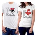 Camiseta Eu Amo A Minha Namorada E Namorado Coração Casal Camisetas