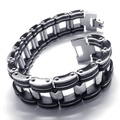 2016 NEW Fashion Jewelry Titanium Stainless steel Classic Biker Black Men's Ouch Rubber Bracelet FREE SHIPPING