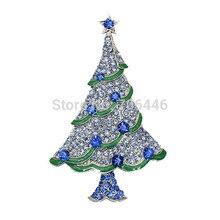 Зеленая эмаль Диаманте Рождественская елка брошь с двумя тонами Синие стразы кристаллы