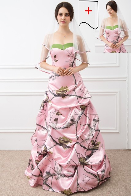 2017 Ball Gown Pink Camo Wedding Dresses Sleeveless Sweetheart Lace ...