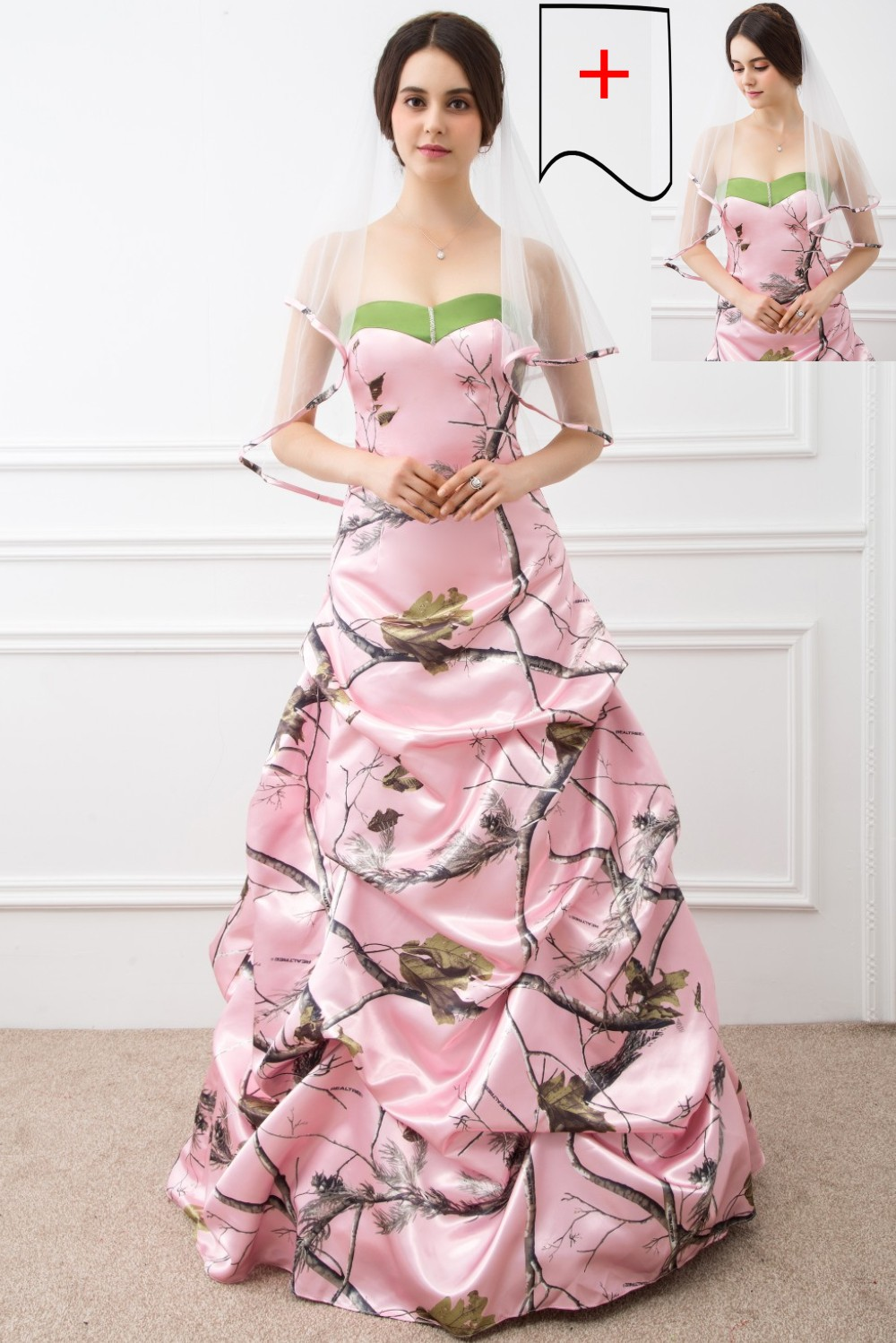 2017 Ball Gown Pink Camo Wedding Dresses Sleeveless Sweetheart Lace Up Camouflage Appliques Ruched Bridal Gowns Custom Veil Free