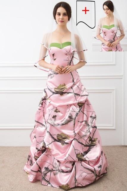 2017 Ballkleid Rosa Camo Brautkleider Sleeveless Schatz Lace Up ...