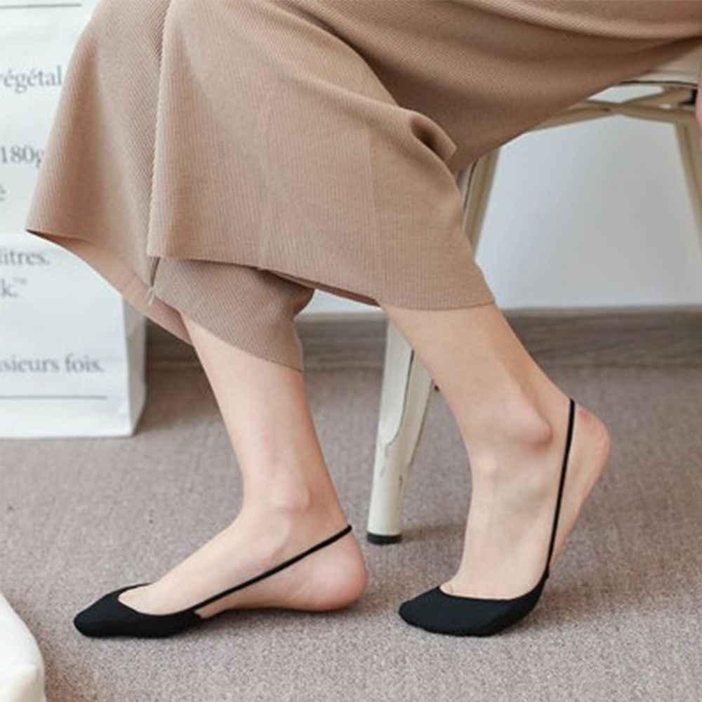 Femminile di Colore Solido di Alta Tacchi Invisibile Calzini e Calzettoni Donne di Modo Slingback Toe Copertura Topper No Show Calzini e Calzettoni