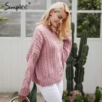 Simplee Knitting Pullover Autumn Winter Long Sleeve 2017 Sweater Women Pull Femme Streetwear Soft Jumper