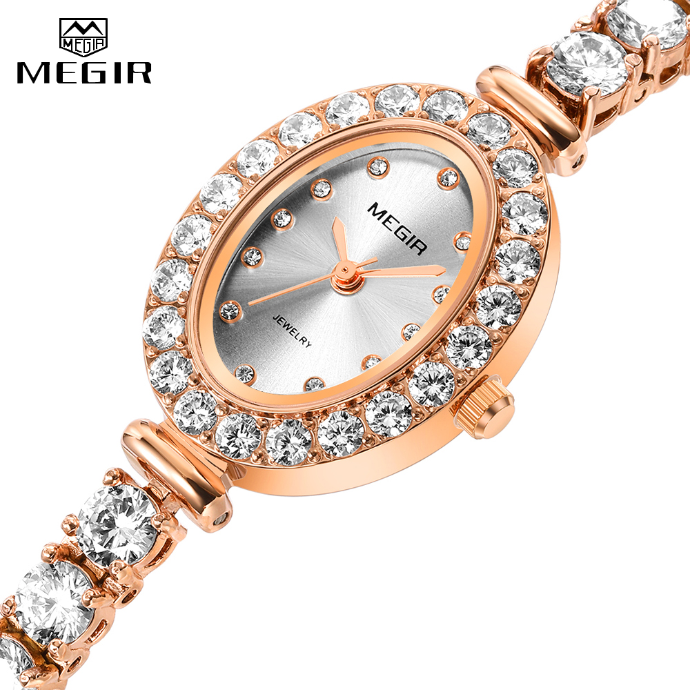 Women Quartz Watch Crystal Diamond Bracelet Wristwatches Top Luxury Brand MEGIR Lady Watches Women Fashion 2019